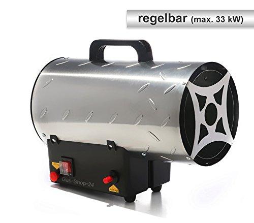 Edelstahl Gasheizgebläse/Heizgebläse mit Regulierung max. 33 kW + Gasschlauch, Druckminderer u. SBS (Heizer, Heizkanone, Hallenheizung, Zeltheizung, Gas Heizung, Heizlüfter, regelbar)