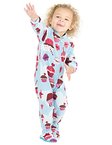 Footed Pajamas - Blue Cupcakes Infant Fleece Onesie (Infant - XLarge (Fits 12-18mos.))