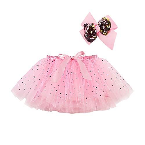 Julhold Falda de malla de tul arco iris para niñas+falda tutú con lentejuelas + horquilla de arco