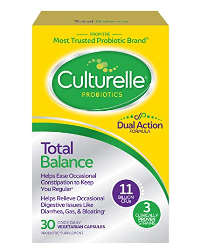 Culturelle Total Balance Dual Action Probiotic | Helps Ease Occasional Constipation to Restore Regularity* | for Digestive and Immune Support* | 1 Easy & Convenient Capsule Per Day | 30 CT