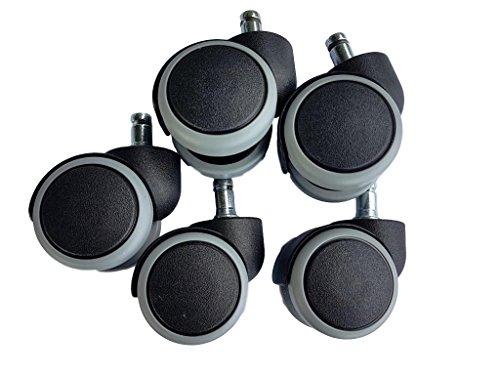 50 mm rubberen wiel voor bureaustoel met draaischarnier, vervanging, dubbele wielen meubel-apparaat & accessoireset, veroorzaakt geen krassen. grijs