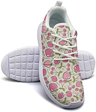 Strawberry and Cherry Plants Fruit Lightweight Running Shoes Women Sneaker Sport Soft Sole Shoes