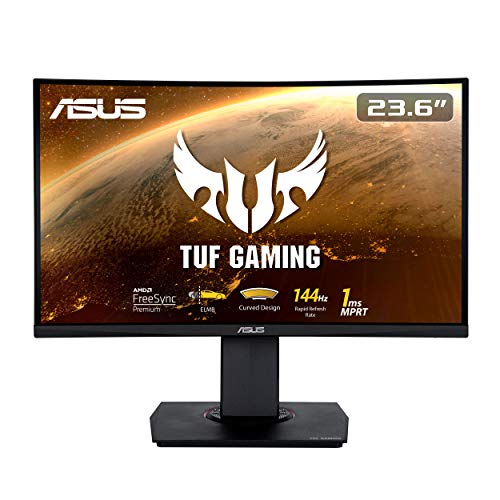ASUS TUF Gaming VG24VQ Curved Gaming Monitor – 23.6 inch Full HD (1920 x 1080), 144Hz, Extreme Low Motion Blur, FreeSync, 1ms (MPRT), Shadow Boost, Black