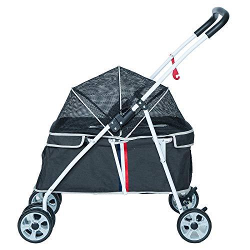 Pettom ペットカート 軽量 犬用ベビーカー 犬 カート 猫 バギー 猫犬兼用前輪360°回転 後輪ブレーキ付 ポーチ付き 多頭用 介護用 おでかけ 多機能 軽量 折りたたみ 組み立て簡単 耐荷重20Kg