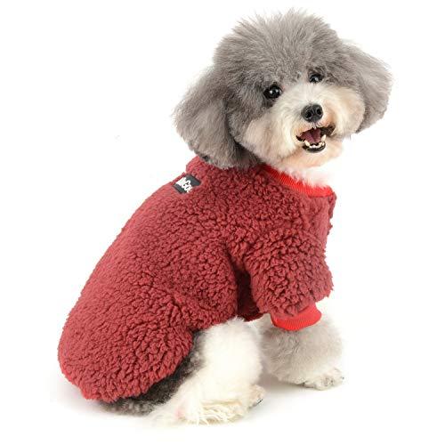 Zunea Wintermäntel für kleine Hunde Fleece Warm Hundepullover Sweater Welpen Winterjacke Chihuahua Katze Kleidung Haustier Jungen Mädchen Hundebekleidung Rot L