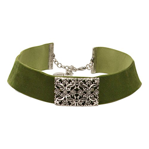 Alpenflüstern Trachten-Samt-Kropfband Ornament-Edelweiß - nostalgische Trachtenkette enganliegend, Kropfkette elastisch, eleganter Damen-Trachtenschmuck, Samtkropfband breit grün DHK208