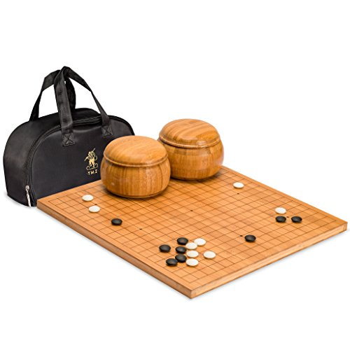 Yellow Mountain Imports Bamboo 0.8-Inch Etched Reversible 19x19 / 13x13 Go Game Set Board with 9.2mm Double Convex Yunzi Stones and Bamboo Wood Bowls Set - Classic Strategy Board Game (Baduk/Weiqi)