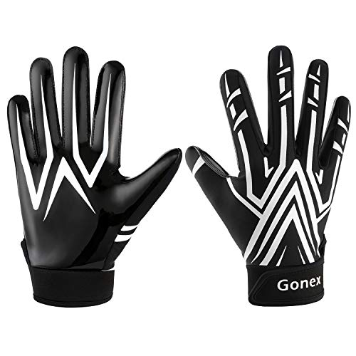 Gonex American Football Handschuhe Receiver Handschuhe für Rugby Game Youth Erwachsene Herren, Schwarz, S