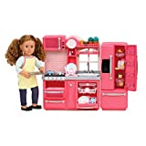 Our Generation by Battat- Gourmet Kitchen (Pink)- Toy, Kitchenette & Accessories for 18' Dolls- Age 3 Years & Up