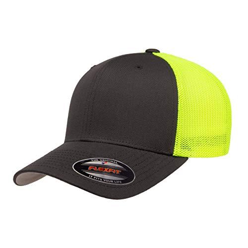 Flexfit Unisex-Erwachsene Trucker Mesh Fitted Cap-2-Tone Kappe, anthrazit/Neongelb, Einheitsgröße