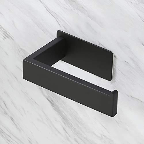 Amazon Brand - Eono Porta Carta Igienica Autoadesivo Toilette Montaggio Parete Portarotolo Carta Igienica Toilette Acciaio Inossidabile 304 Nero Opaco, A23571DM-BK