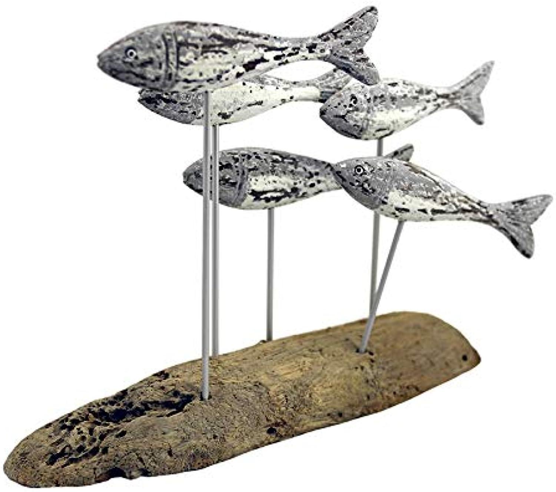 School of 5 Fish ON Base Ornament Figurine Driftwood Metal Grey 38X32CM