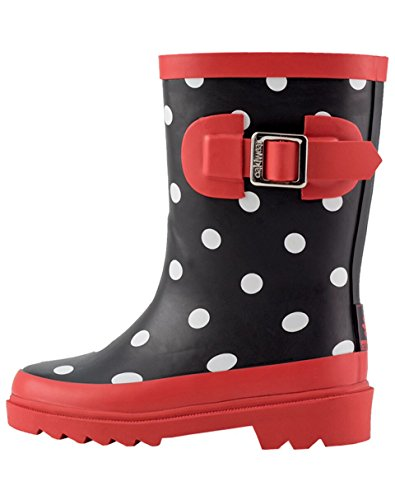 OAKI Kids Rubber Rain Boots, Black, White Red Polka Dots, 13T US Little Kid