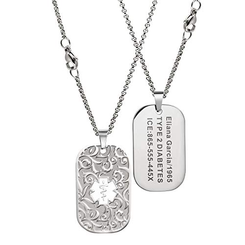 MunsteryAid Customize Patterned Medical Alert Dog Tag Necklace with Free Engraving for Men Women, Personalized Emergency Identification ID Necklace,2 Color Option (White)