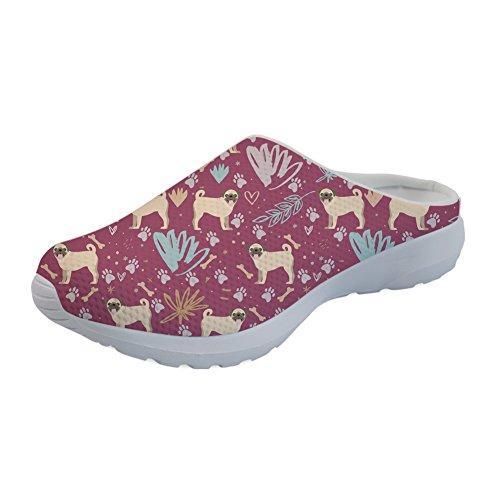 Nopersonality Summer Clogs Shoes for Women Cute 3D Pug Dog Print Sandals Slip-On Summer Mesh Garden Slippers Light Weight 37 EU