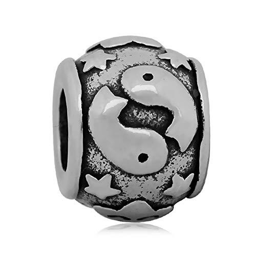 Andante-Stones zilveren kraal charm sterrenbeeld vissen element bal voor European Beads + organza zakje
