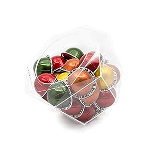 Verre Collection - Soporte para cápsulas de plexiglás hexagonal, compatible con Nespresso Vertuoline, K-Cups, Dolce Gusto, dispensador transparente, solución de almacenamiento