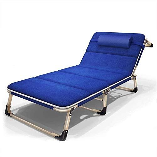 Big Giardino Camera da letto pieghevole regolabile, reclinabile a gravità zero, Giardino esterno, Letto spiaggia, Lettino da sole, Supporto 200 kg (Colore: Blu con cuscini) (Colore: Blu con cuscini)