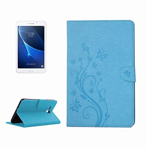 GLXC AYD For Galaxy-Tab-A 7.0 Pressed Flowers Butterfly Pattern Horizontal Flip PU Leather Case with Magnetic Buckle & Holder & Card Slots & Wallet (Color : Blue)