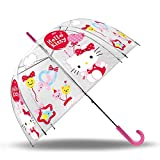 SKYLINE Paraguas para Niños, Hello Kitty, Campana Transparente, Paraguas Infantil, Poliéster, 72cm diámetro, Vuelta al Cole, Ideal para Niños