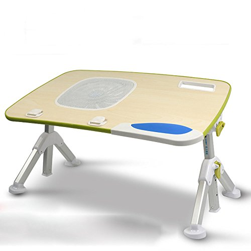XinQing-Folding table Foldable Cooling Computer Desk, Removable Adjustable Laptop Bed Table with USB Fan Bed Sofa Tray 100% Wood (Size : 60 * 33cm)
