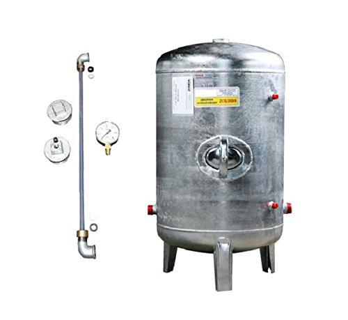 Druckbehälter 100 150 200 300 500 L 6 bar senkrecht mit Zubehör verzinkt Druckkessel für Hauswasserwerk senkrecht stehend (150 L)