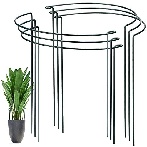 YAIKOAI 6 Stück Pflanzenstütz pfahl, Garten Blumenstütze UV-beständiger Halbrunder Ring käfighalter Rankhilfe Klettergitter für Tomaten Gemüse Blumen Pflanzenanbau Grenzstütze((40 x 24cm))