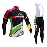 TOPBIKEB Trajes de Ciclismo de Invierno para Hombres, Jersey de Ciclismo de vellón térmico con Pantalones Acolchados...
