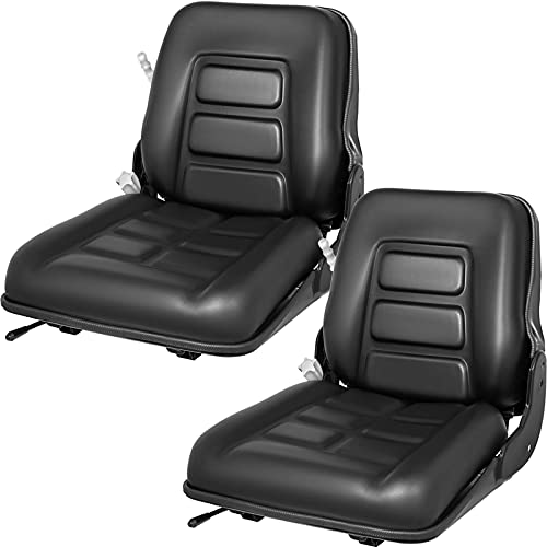 VEVOR Universal Forklift Seat, 2 PCS Suspension Seat for Truck with Safety Switch, Forklift Tractor Seat Vinyl Fits Toyota with 3 Stage Weight Adjustment, Forklift Seat with Adjustable Angle Back