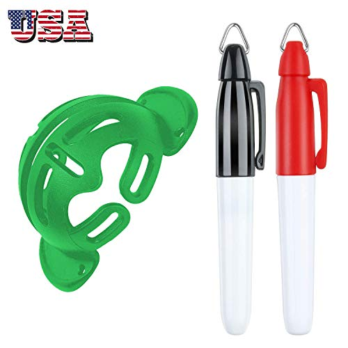 Golf Ball Marker Line Drawing Alignment Putting Tool with Mark Pens Value Set, Balls Template Markers Liner Stencil Marking Tools Kit Funny for Men Women Kids (1 Pack Green Hat Template + 2 Pens)