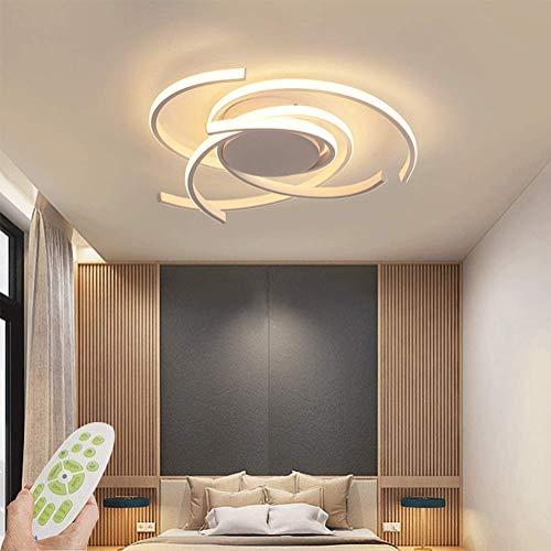 Modern Deckenleuchte LED Dimmbar Wohnzimmerlampe Mit Fernbedienung Kreativ Ring Design Deckenlampe 92W Metall Acryl Dekorative Beleuchtung für Schlafzimmer Esszimmer Flur Küche Lampen 75cm (Weiß)
