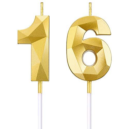BBTO Candele di Numero per 16 ° Compleanno Candele di Torta a Forma di Diamante 3D Topper di Torta di Numero 16 Decorazione per Articoli di Compleanno Nozze Anniversario Celebrazione, Oro