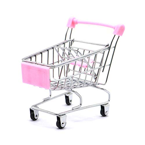 Fly Array Kids Mini Shopping Cart Roll Wheel Moving Doll Toys Holder Cool Desk Holder Tiny Cute Supermarket Cart Trolly Sturdy Metal Novelty Adorable Gifts for Children (Pink, XS(4.5×3.4×4.7 inch))