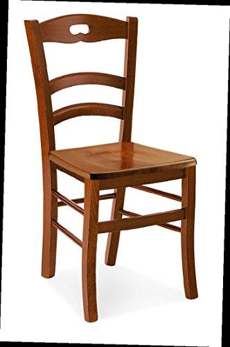 ARREDinITALY Juego de 2 sillas Paola en acabado nogal y asiento de madera