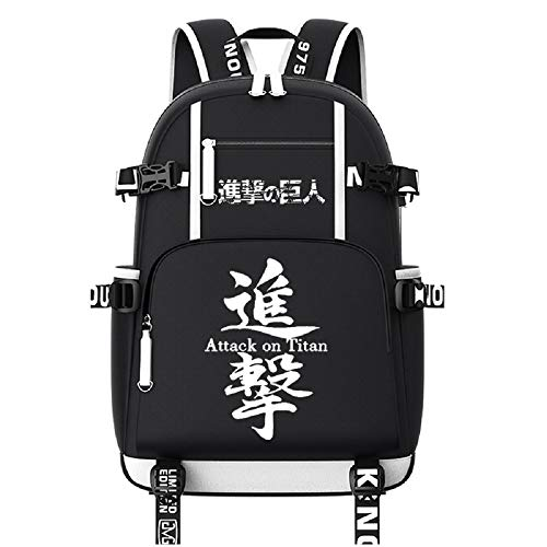 ZahngY USB Ladeanschluss Anime Rucksack Schulrucksack Backpack Schultasche Oxford Cloth Attack on Titan