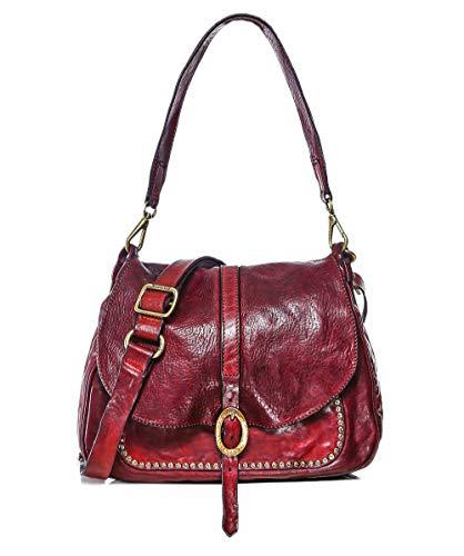 Campomaggi Damen Schultertasche mit mittlerem Leder Rot Ein Größe