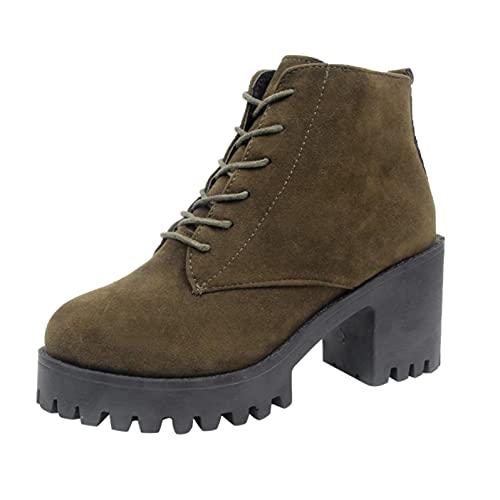 RTPR Botas cortas casuales para mujer, con cordones, botas de motocicleta, suelas gruesas, impermeables con tacón de bloque, botas de vaquero retro occidentales, Verde militar, 37.5 EU