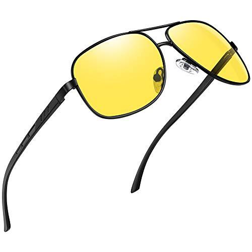 Joopin Gafas Visión Nocturna para Hombre Gafas de Sol Polarizadas Deportivas Aviador Gafas de Conducción Nocturna Protección 100% UV400 (Vista Nocturna)