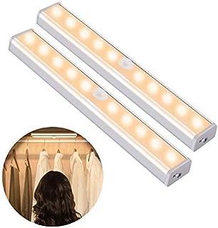 OUSFOT Luz Armario con Sensor de Movimiento Luz Sensor para Armario USB Recargable LED Armario con 2 Tiras Magnéticas pega...