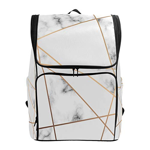 ZZKKO Geometric Marble Art Black and White Backpacks College Book Laptop Bag Camping Hiking Travel Daypack