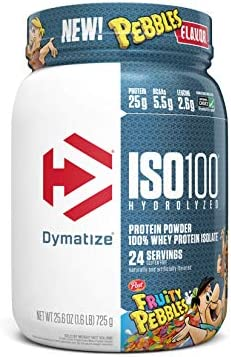 Dymatize ISO100 Hydrolyzed Protein Powder 100 Whey Isolate Protein 5 5g BCAAs Cream Fruity Pebbles product image