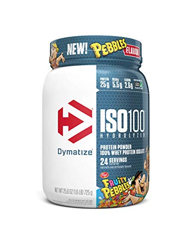 Dymatize ISO100 Hydrolyzed Protein Powder 100% Whey Isolate Protein 25g of Protein 55g BCAAs Gluten Free Fast Absorbing Easy Digesting Fruity Pebbles 16 Pound