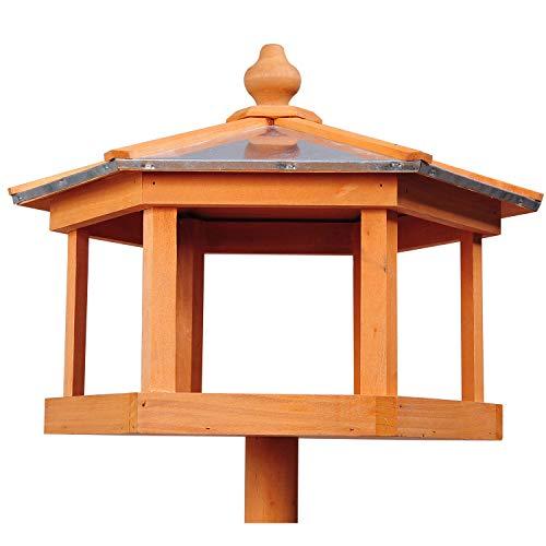 PawHut D3-0006 Vogel/Futterhaus Kanarien Holz mit Ständer und Zinkdach Wasserdicht, natur - 6