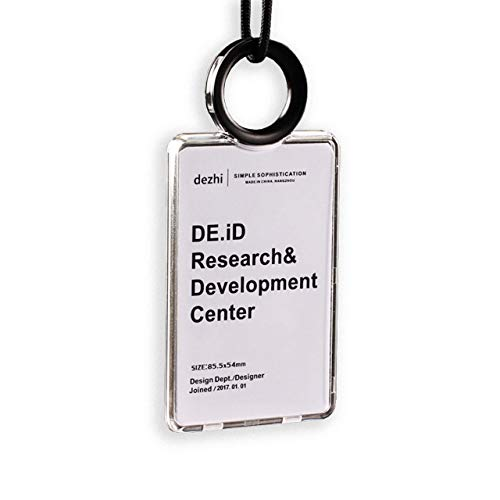 [Ajicai] IDカードホルダー ネームホルダー リール 付き ネック ストラップ ハード 両面 (縦)