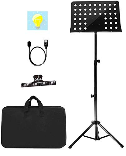 Sheet Music Stand Lunies Highest 63'Adjustable Violin Guitar Music Book Holder with Paper clip,Carrying Bag Black
