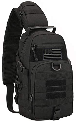 Protector Plus Tactical Sling Bag Military MOLLE Crossbody Packs Chest Shoulder Backpack EDC Diaper Satchel Motorcycle Bicycle Daypack (Patch Included), Black