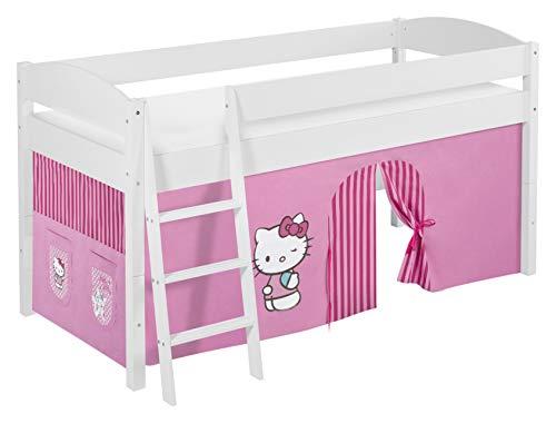 Lilokids Spielbett IDA 4105 Kitty Teilbares Systemhochbett weiß-mit Vorhang Kinderbett, Holz, Hello kittty rosa, 208 x 98 x 113 cm