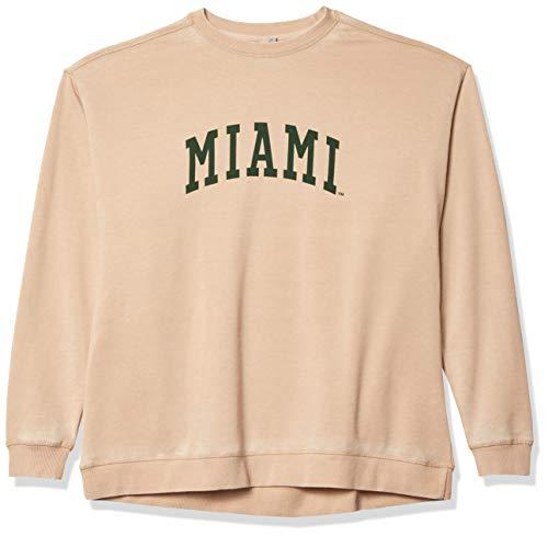 chicka-d NCAA Miami Hurricanes Campus Sweatshirt mit Rundhalsausschnitt, Oatmeal