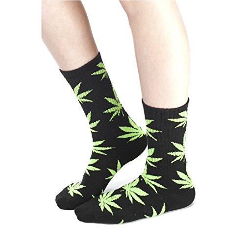 Morefaz Unisexe Coton Crew Chaussettes Marijuana Cannabis Weed Rasta