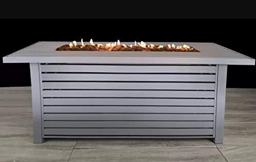 Century Modern Outdoor Bridgeport Rectangle Steel Propane Fire Pit Table for Outdoor Home Garden Backyard Fireplace [CM-1026G] (Gray, Size : - 24'' H x 22'' W x 54'' D)